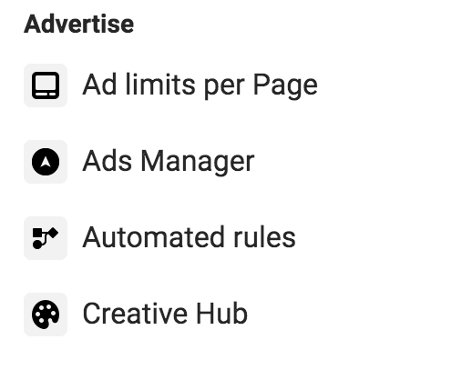 advertise section facebook